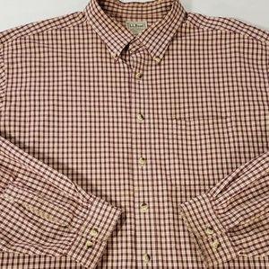 LL Bean Long Sleeve Plaid Button Down Shirt XLT